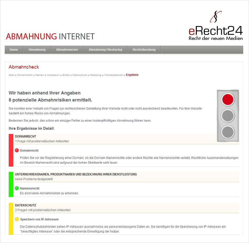 Kostenloser Anonymer Abmahncheck Für Webseiten Von Erecht24